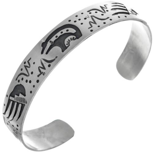 Navajo Silver Bear Cuff Bracelet 33357