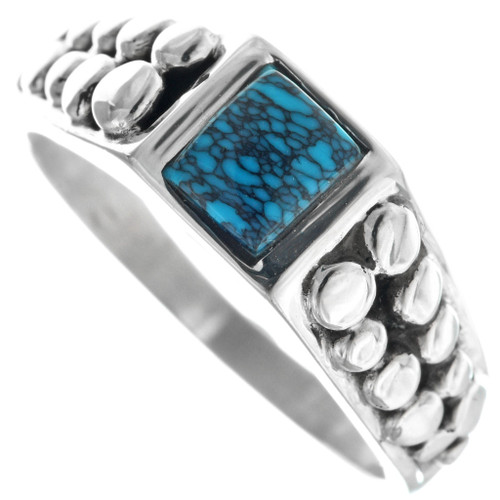 Mens Blue Spiderweb Turquoise Silver Navajo Ring 33881