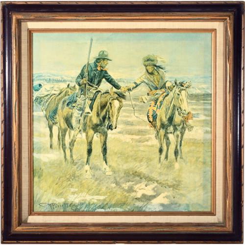 "Western Art Print ""A Doubtful Handshake"" Framed 33902"