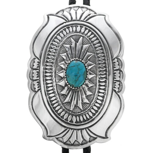 Turquoise Sterling Navajo Bolo Tie 33536