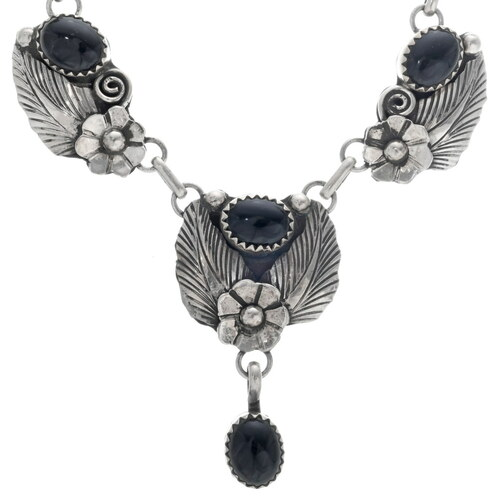 Old Pawn Silver Onyx Necklace 33950