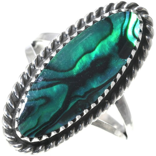 Navajo Green Paua Shell Ring 34019