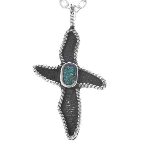 Native American Turquoise Cross Pendant 34038