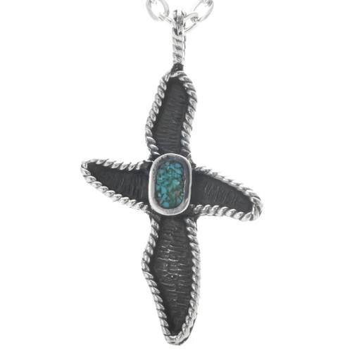 Native American Turquoise Cross Pendant 34038