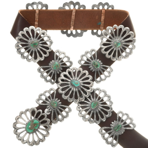 Old Pawn Turquoise Sterling Silver Concho Belt 34043