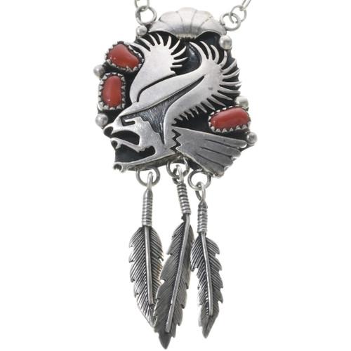 Vintage Coral Silver Eagle Ladies Link Necklace 34065