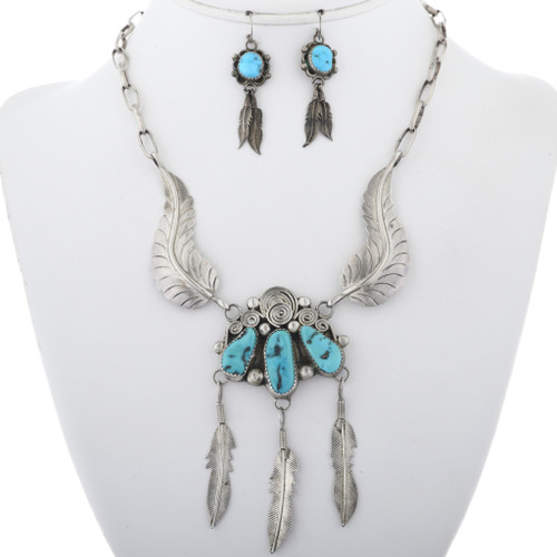 Vintage Turquoise Feather Necklace Set French Hook Earrings 34067