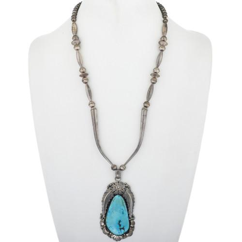 Large Vintage Turquoise Silver Pendant Necklace 34079