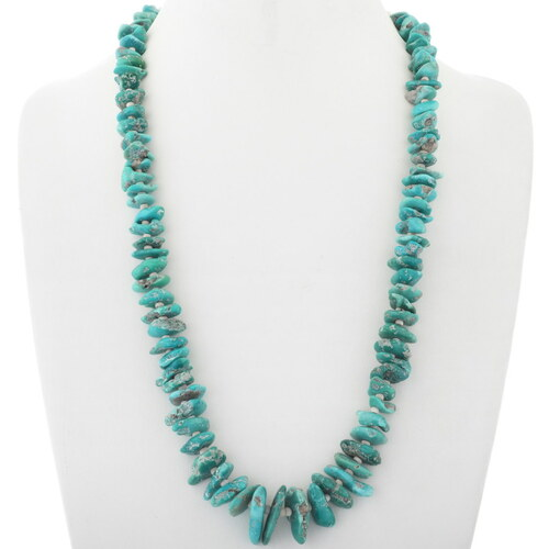 Vintage Green Turquoise Nugget Necklace 34111