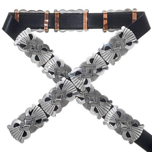 Native American Sterling Silver Concho Belt 34116