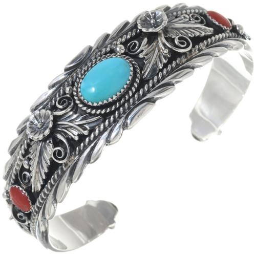Turquoise Coral Navajo Bracelet 14994