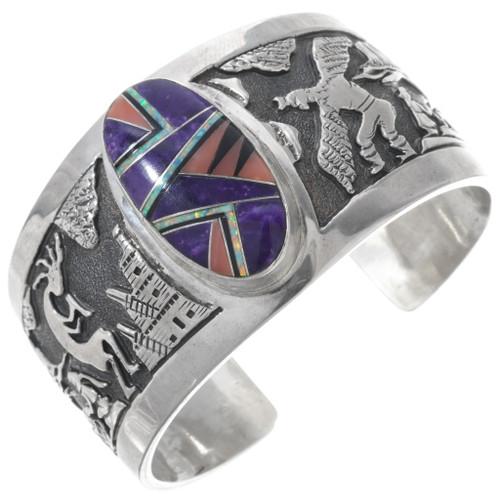 Navajo Hand Made Sterling Storyteller Bracelet 34148