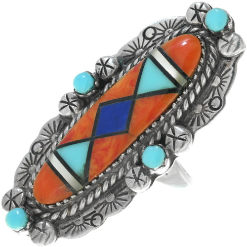 Old Pawn Inlaid Turquoise Shell Ring 34149