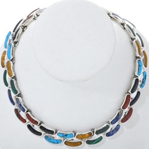Vintage Inlaid Multi Gemstone Necklace 34157