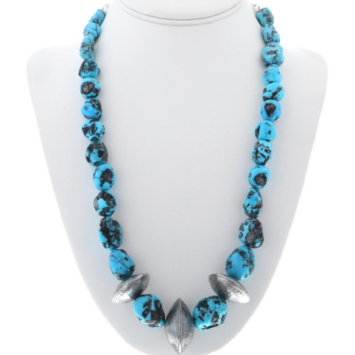 Genuine Turquoise Nugget Coin Bead Necklace 34110
