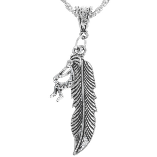 Silver Feather Kokopelli Pendant 34167