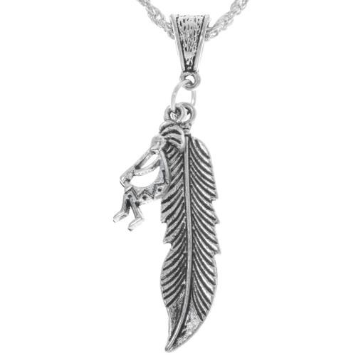 Silver Feather Kokopelli Pendant 34167