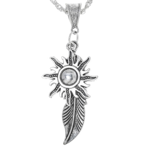 Silver Feather Sun Pendant With Chain 34172