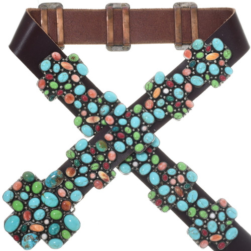 Vintage Turquoise Shell Cross Concho Belt 34090