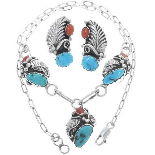 Vintage Navajo Turquoise Coral Necklace Set 34196