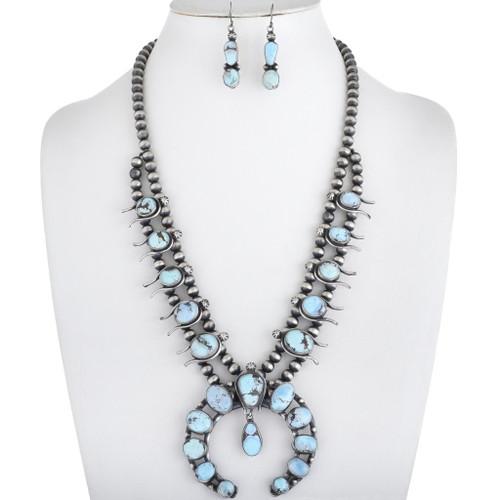 Vintage Turquoise Squash Blossom Necklace 34213