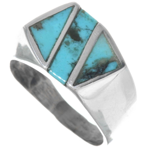 Navajo Silver Turquoise Mens Ring 34223