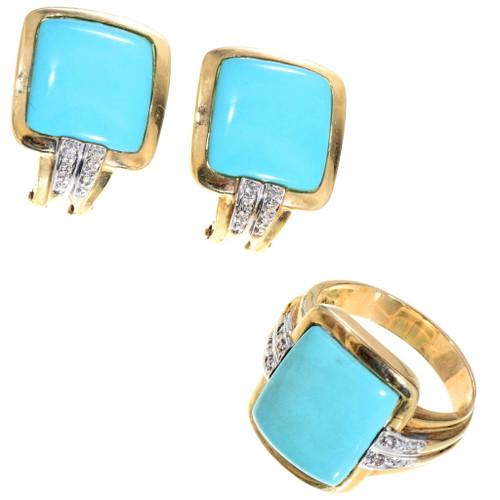 Vintage 14K Gold Turquoise Jewelry Set 34264