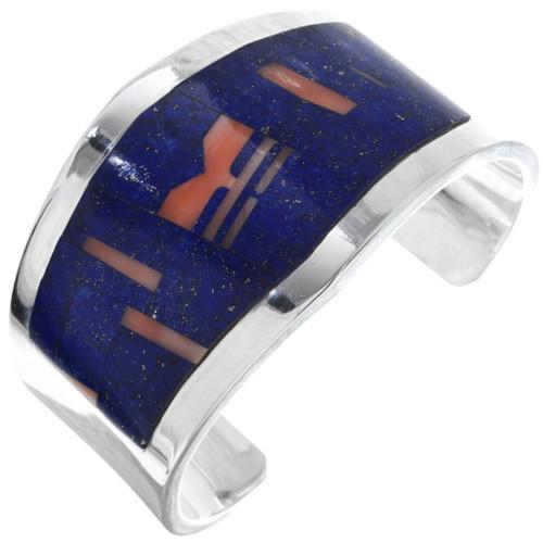 Lapis Lazuli Inlay Sterling Silver Cuff Bracelet 29646