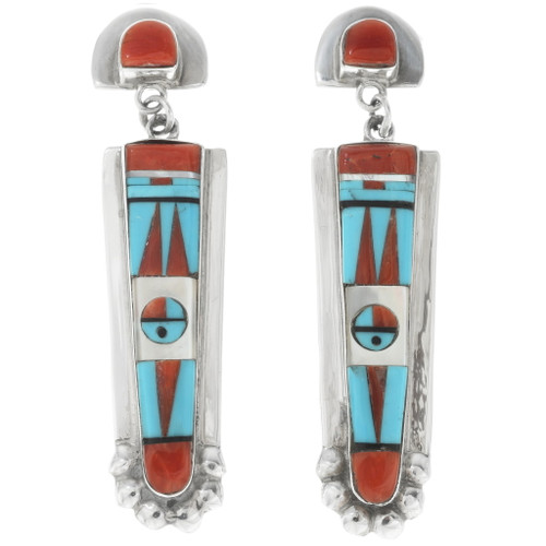 Zuni Coral Inlay Dangle Earrings 33172