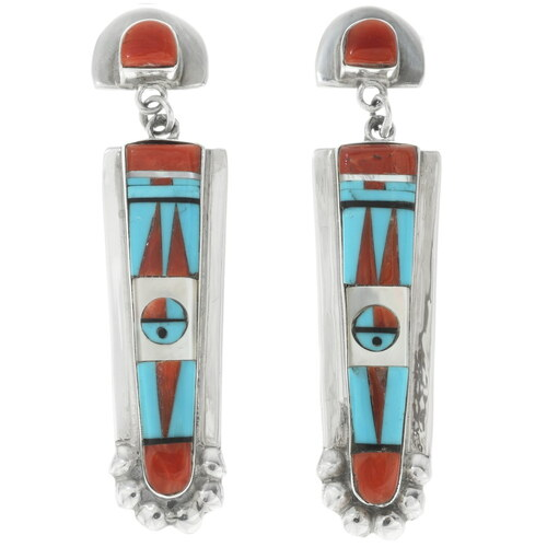 Zuni Coral Inlay Dangle Earrings 33172