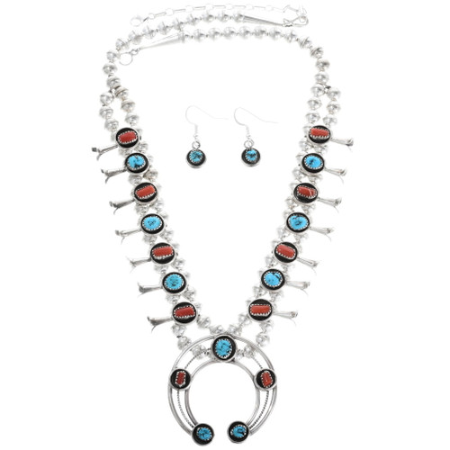 Turquoise Coral Squash Blossom Necklace 34302