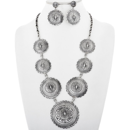 Sterling Silver Concho Link Necklace Set 32189