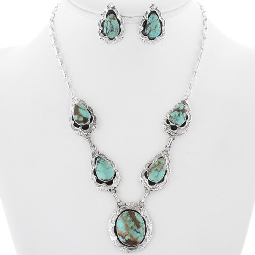 Navajo Turquoise Necklace Earrings Set 34313