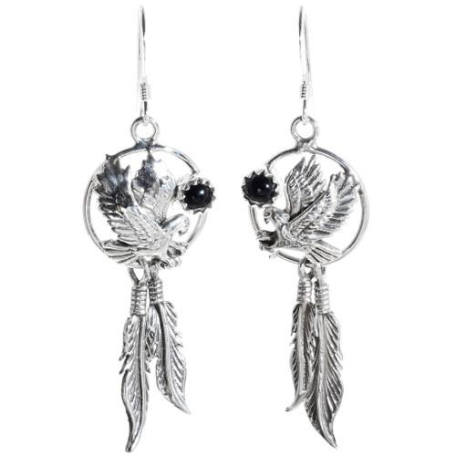 Silver Feather Eagle Earrings 34316
