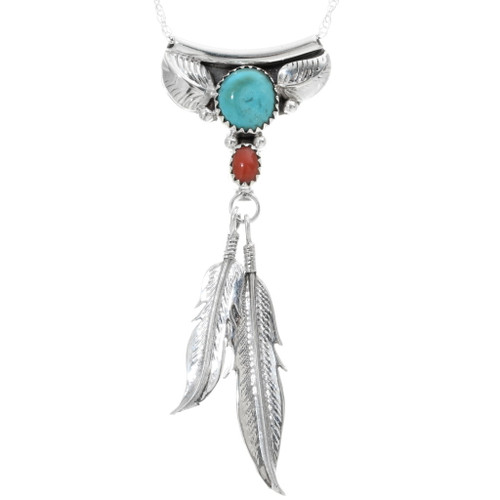 Turquoise Coral Silver Navajo Pendant 34321