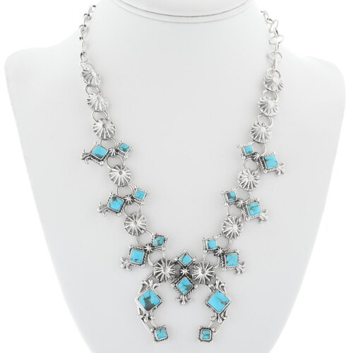 Navajo Turquoise Squash Blossom Necklace 34325