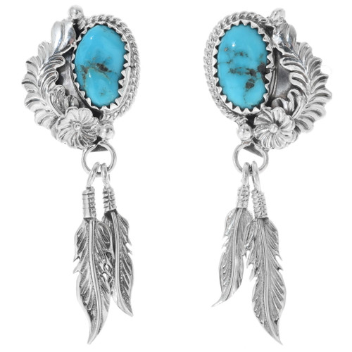Navajo Turquoise Feather Earrings 34350