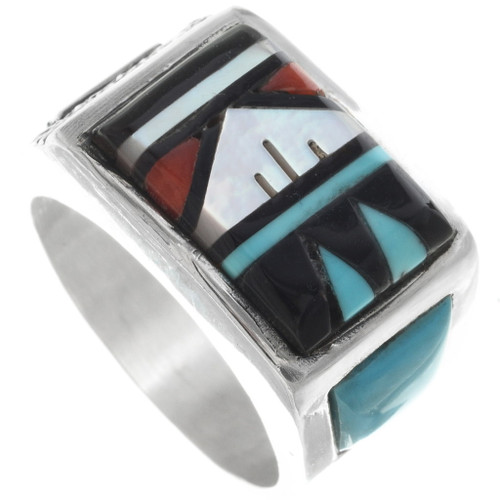 Zuni Inlaid Turquoise Mens Ring 34356