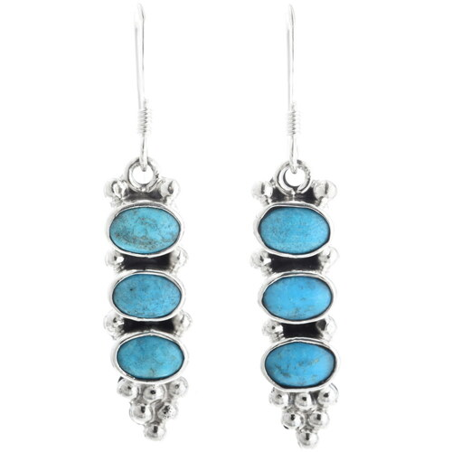 Turquoise Silver Navajo Earrings 34357