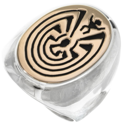 Man in the Maze Silver 14K Gold Ring 34359