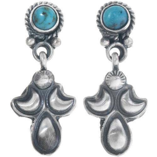 Turquoise Silver Navajo Dangle Earrings 34360