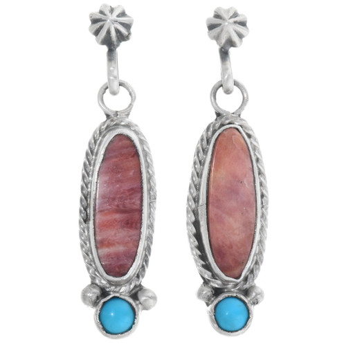 Navajo Spiny Oyster Turquoise Earrings 34367