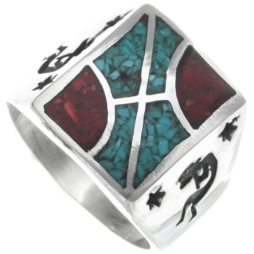Turquoise Coral Kokopelli Ring 34381