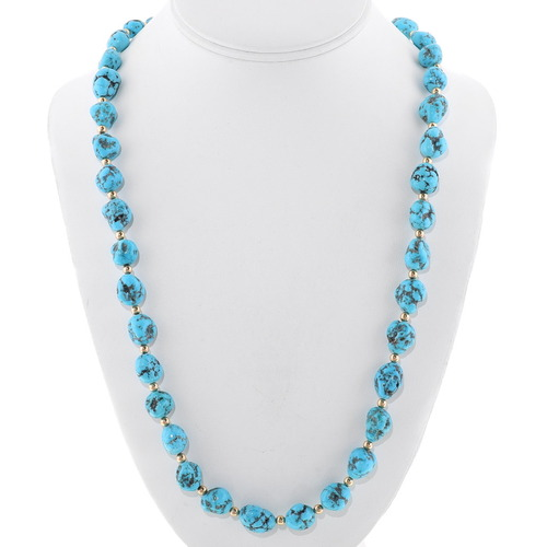 Natural Turquoise Gold Bead Necklace 34393