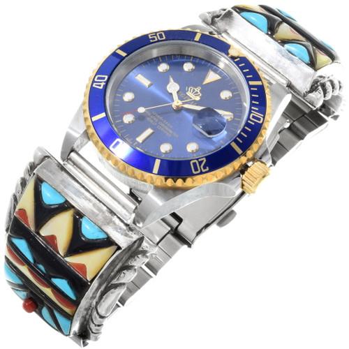 Vintage Cobblestone Inlay Mens Watch 34395
