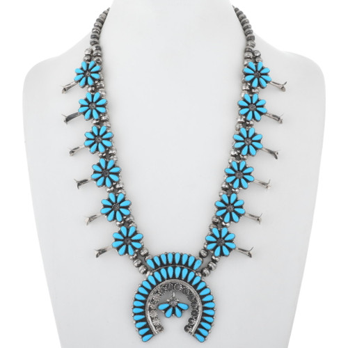 Turquoise Cluster Squash Blossom Necklace 34421