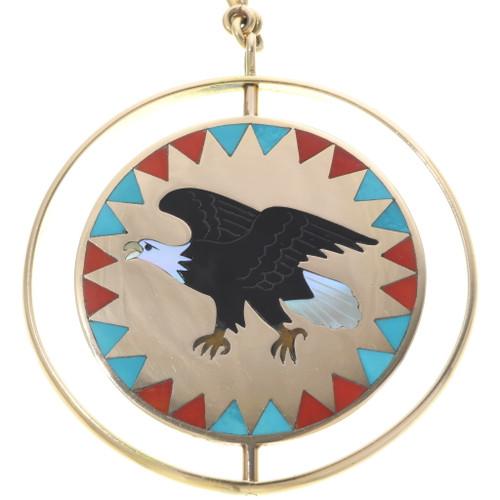 Zuni 14K Gold Eagle Eagle Pendant 34434