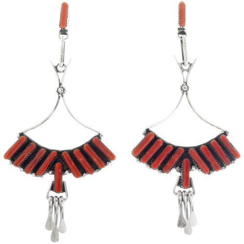 Zuni Vintage Coral Earrings 34438