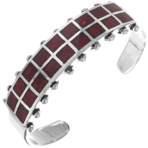 Coral Chip Inlay Navajo Ladies Cuff Bracelet 34441