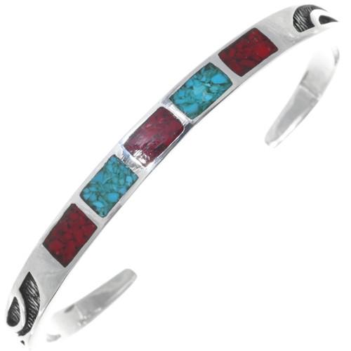 Navajo Ladies Turquoise Coral Bracelet 34450